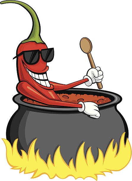 This is a chili pepper sitting in a pot of boiling hot chili holding a wooden spoon. Great for chili cook offs.